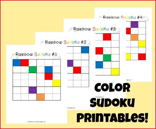 Color Sudoku Puzzles for Kids {4 Printable Board Games} School