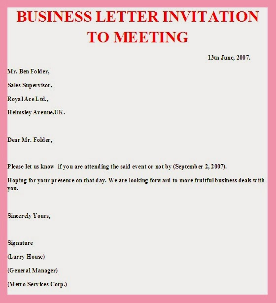 Sample business letter invitation to a meeting sample for Meeting invite email template