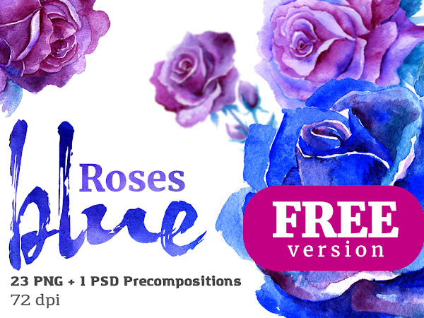 Download Blue Roses Floral Watercolor Set Free