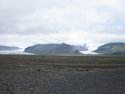 A distant view of Vatnajokull and Skaftafell, Iceland