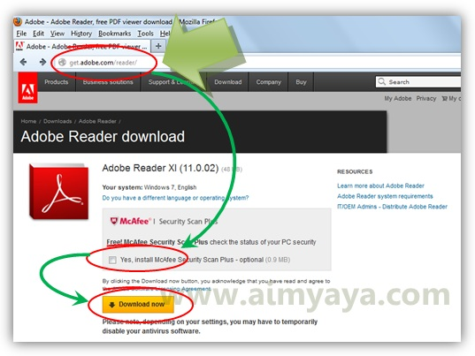 Gambar: Halaman download adobe reader