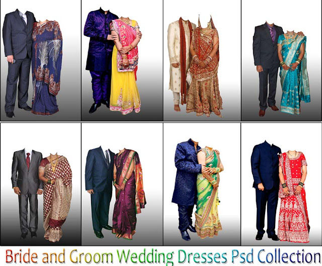 Bride and Groom PSD Dresses