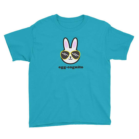 Egg-cognitio cute Easter shirt for boys and girls, Funny Easter Bunny in Sunglasses