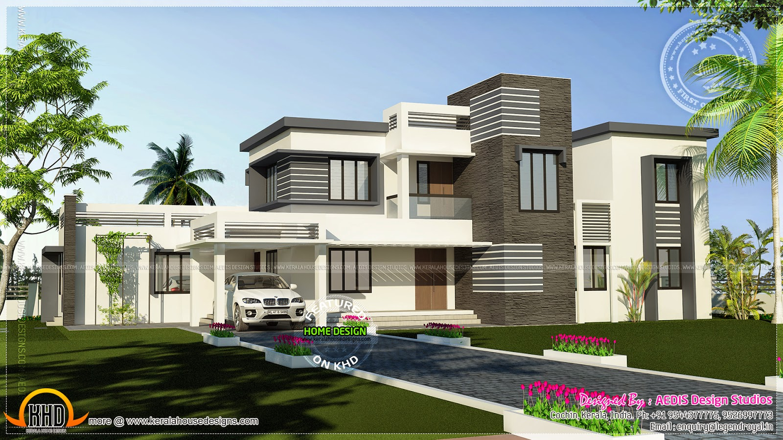 Flat roof contemporary home in 2994 square feet  Kerala home design and floor plans