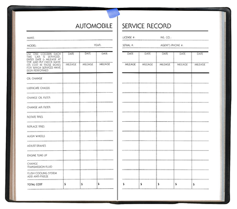 Vehicle service record template excel