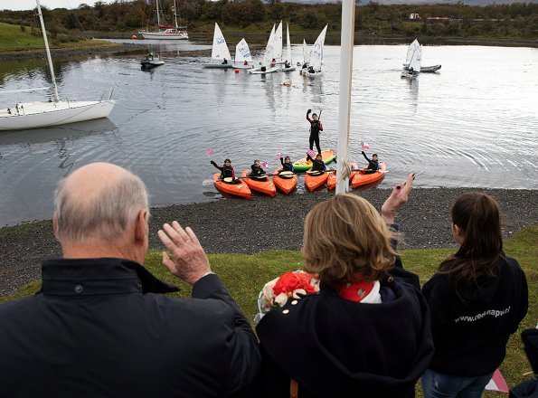 King Harald and Queen Sonja visited the local sailing school in Puerto Williams