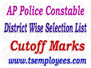 AP Police Constable District Wise Selection List 2017 AR Civil SCT PC Cutoff Marks Merit List