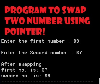 c program to swap two numbers using pointers