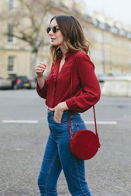 Bolsa redonda vermelha