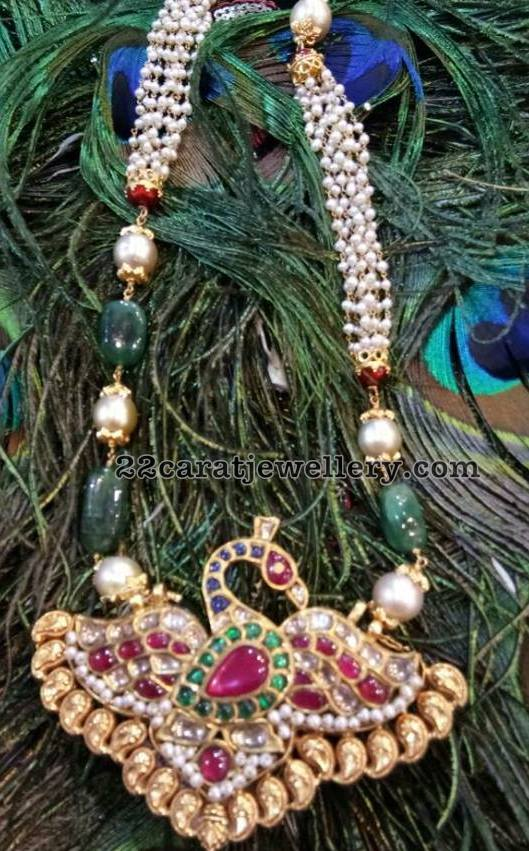 Peacock Pendant with Pearls Mala