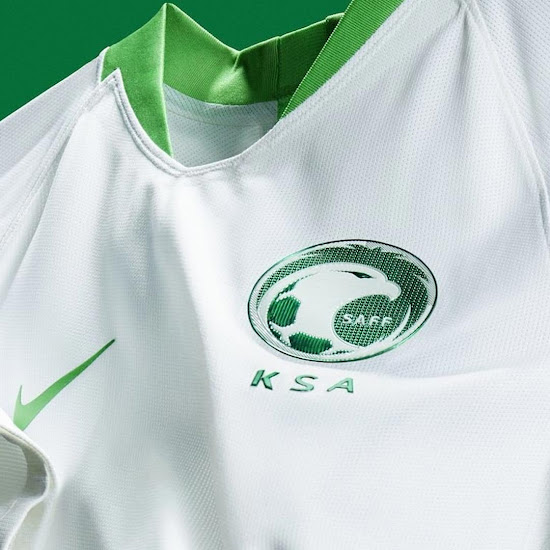 d8e9c16ea The Saudi Arabia 2018 World Cup shirt is based on the Nike 2018 World Cup  template. It combines the traditional home kit colors of the country