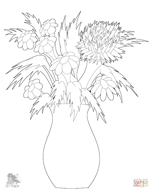 Flower Vase Coloring Page Flowers In Vase Coloring Page  Free  Printable Coloring Pages