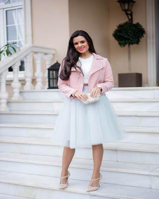 outfit para el trabajo con falda de tul elegante de moda