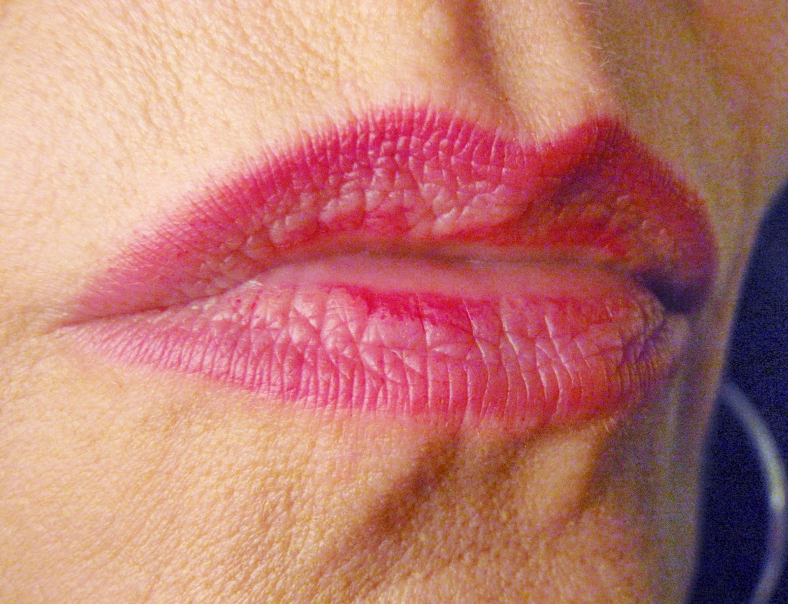 josie maran lipstain on lips at end of day
