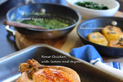 Roast Chicken with Creamy Parsley and Fondant Potatoes