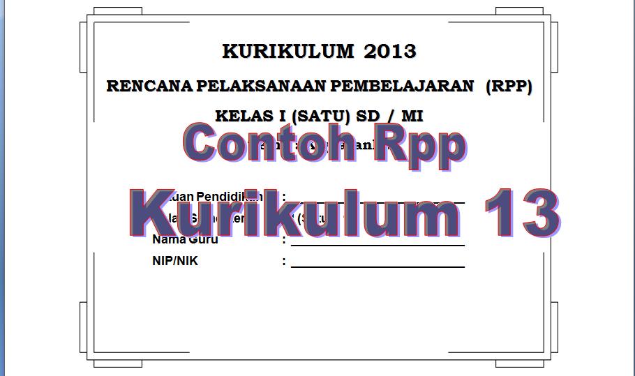Download Contoh Rpp K13 Lengkap Kelas 1 S D 6 2015 Media Guru