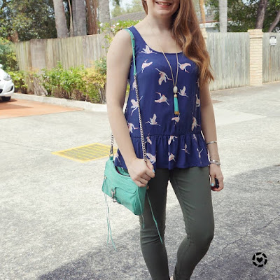 awayfromtheblue instagram navy peplum bird print kmart tank with olive jeanswest Vicki skinny jeans