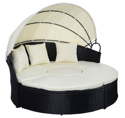 Tangkula Daybed Patio Sofa Furniture Round Retractable Canopy Wicker Rattan Outdoor, Circular Outdoor Daybeds, Outdoor Daybeds, Outdoor Daybeds With Canopy, Outdoor Furniture, Patio Furniture, Rectangular Outdoor Daybeds, Round Outdoor Daybeds, Wicker Outdoor Daybeds, Round Daybeds with Canopy,