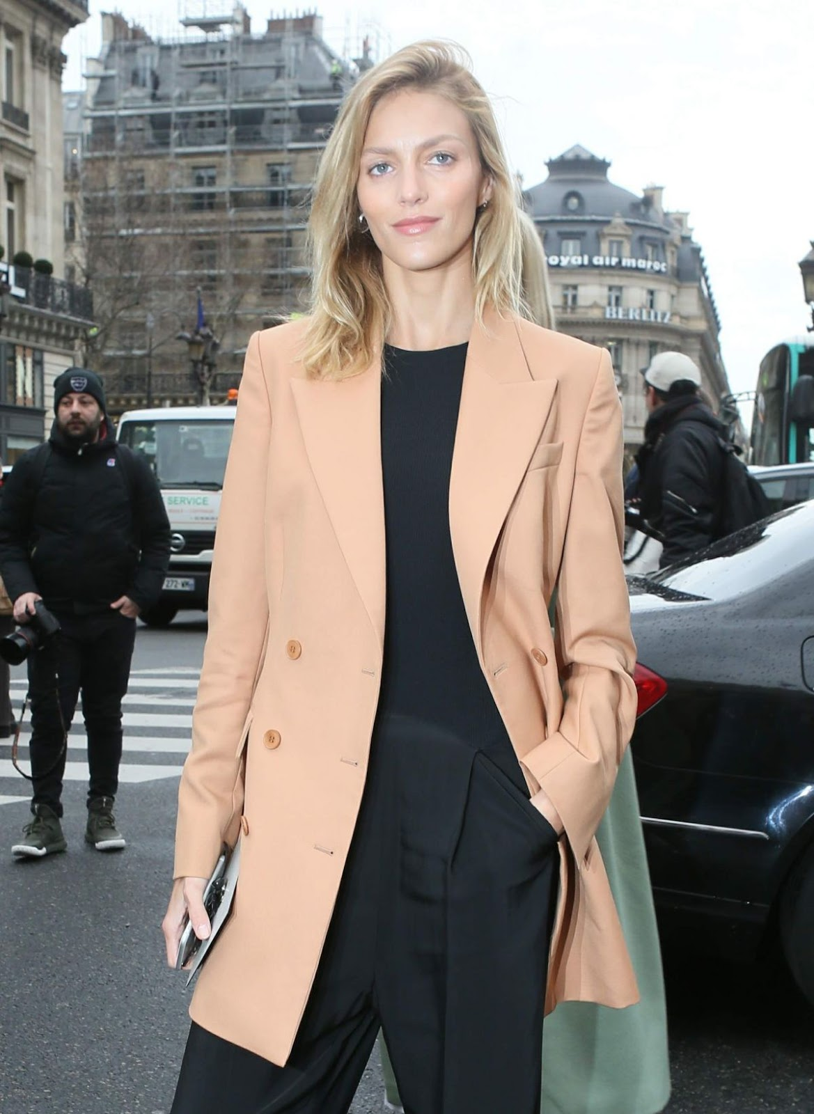 Anja Rubik Wears a Jumpsuit & Camel Coat in Paris