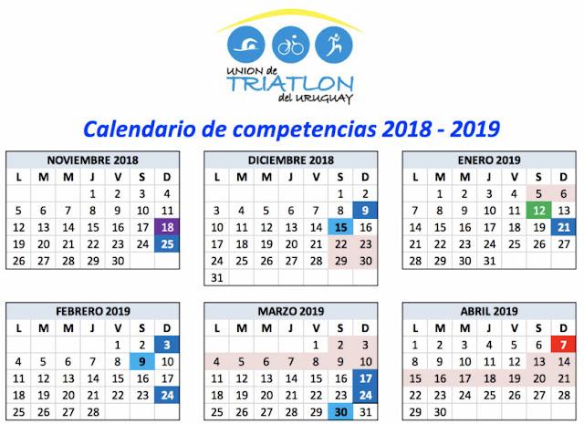 Calendario Triatlon 2019.Recorrer Uruguay Calendario 2018 2019 Del Campeonato Uruguayo De
