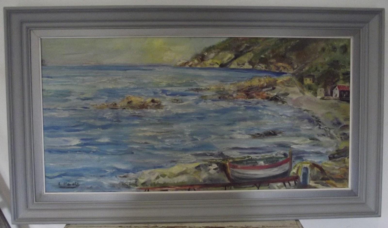 tableau peinture hst huile sur toile marine naïf plage de la Verne ...