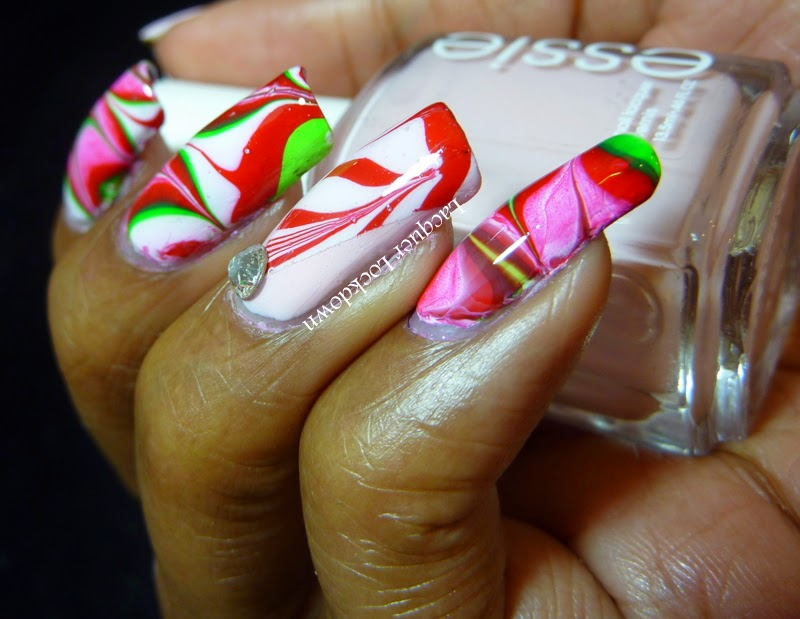Lacquer Lockdown - watermarble nail art, christmas nail art, christmas watermarble, candy cane watermarble, candy cane nail art, cute nail art, christmas tree nail art, cute nails, diy nail art, nails, cool nail art ideas, holiday nail art,