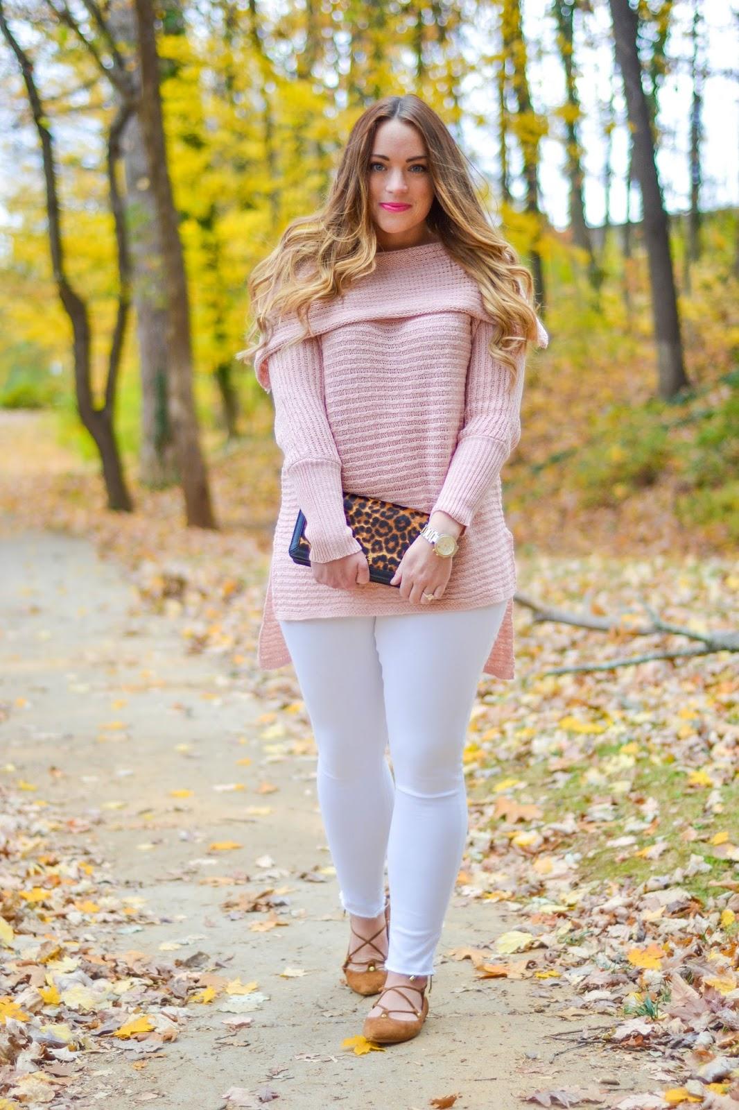 Blush Off Shoulder Sweater