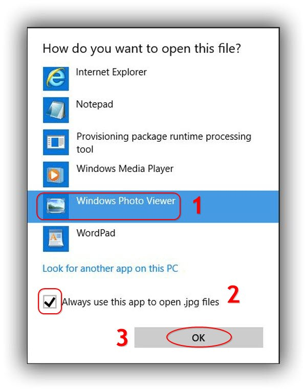 pilih Windows Photo Viewer menjadi default
