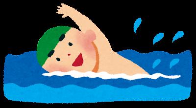 海水浴のイラスト「クロールをする男の子」