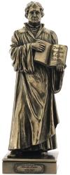 Bronzierte Statue des Reformators Martin Luther, die Bibel haltend