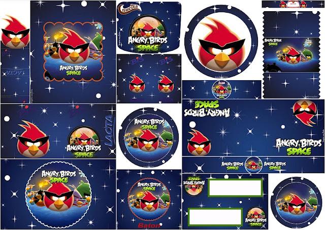 Angry Birds en el Espacio: Etiquetas para Candy Bar para Imprimir Gratis.