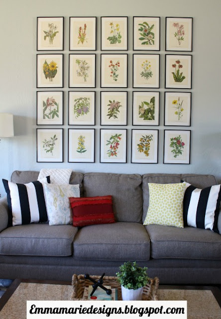 pretty botanical prints over the sofa in the living room @ emmamariedesigns.blogspot.com