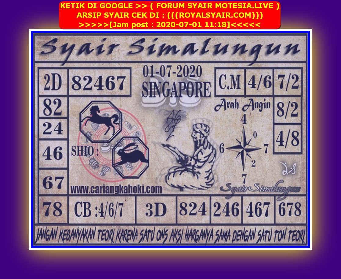 Kode syair Singapore Rabu 1 Juli 2020 107