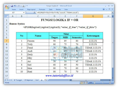 FUNGSI IF + OR