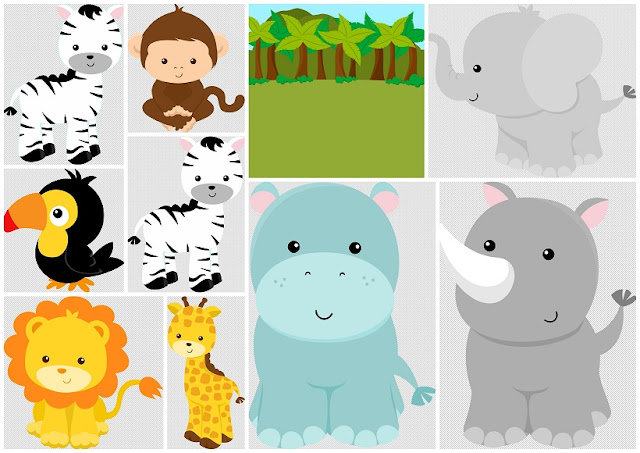 Jungle Babies Clip Art.