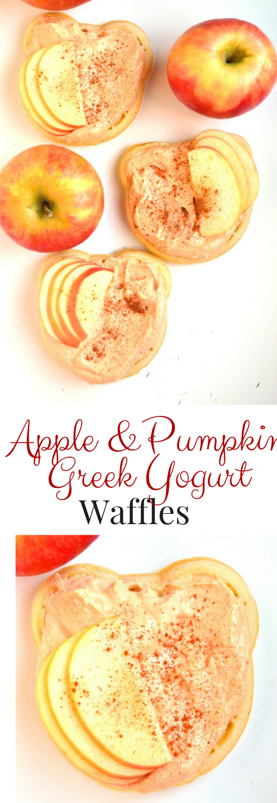 Apple and Pumpkin Greek Yogurt Waffles take 5 minutes to make and feature a mix of pumpkin spiced vanilla Greek yogurt and fresh sliced apples on top of crispy waffles! www.nutritionistreviews.com