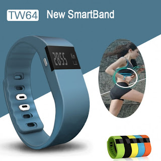TW64 Bluetooth Smart Wristband Fitness Bracelet Watch Blue-gray