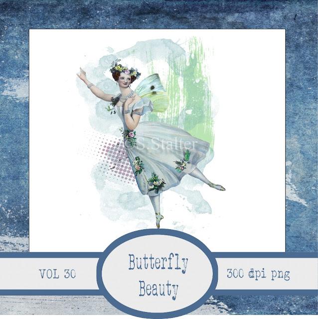 Vintage Ephemera Butterfly Beauty Scrapbook Art Journal Page Element