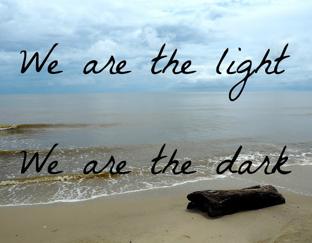 "Text reading ""We are the light, We are the dark"" printed on an ocean/ seascape background"