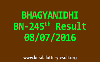 BHAGYANIDHI Lottery BN 245 Results 8-7-2016