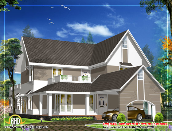 Sloping roof house design - 3305 Sq. Ft. (307 Sq. M. )(367 Square Yards) - March 2012