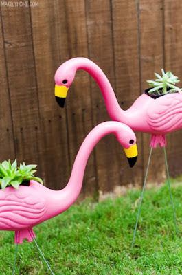 DIY Pink Plastic Statue Planters