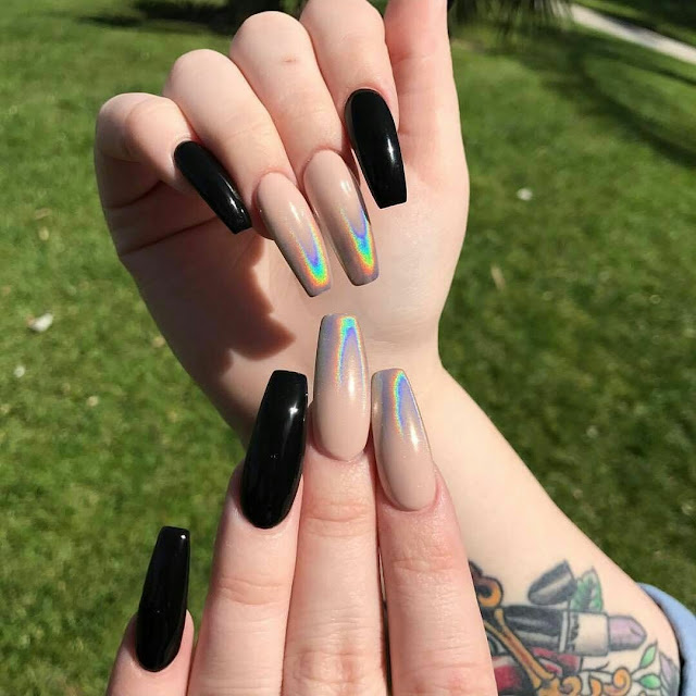 Black and nude colour nail art