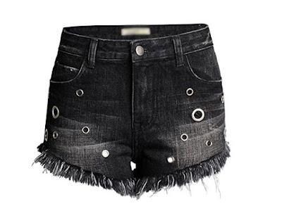 shorts vaqueros negros para mujer