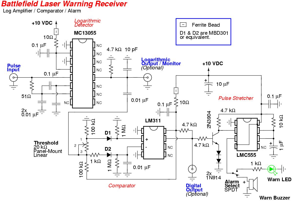 Battlefield Laser Warning Receiver Log Amplifier Comparator Alarm