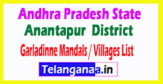 Garladinne Mandal Villages Codes Anantapur District Andhra Pradesh State India