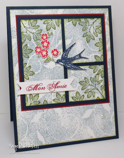 Stampin Up Carte Postale and Fine Lace Background, Card Designer Angie Crockett