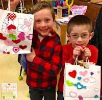 Valentine fun! Simple valentine bags equal gift bags and foam heart stickers from Michaels. This post also includes some simple valentine writing activities.