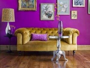diseño sala violeta amarillo
