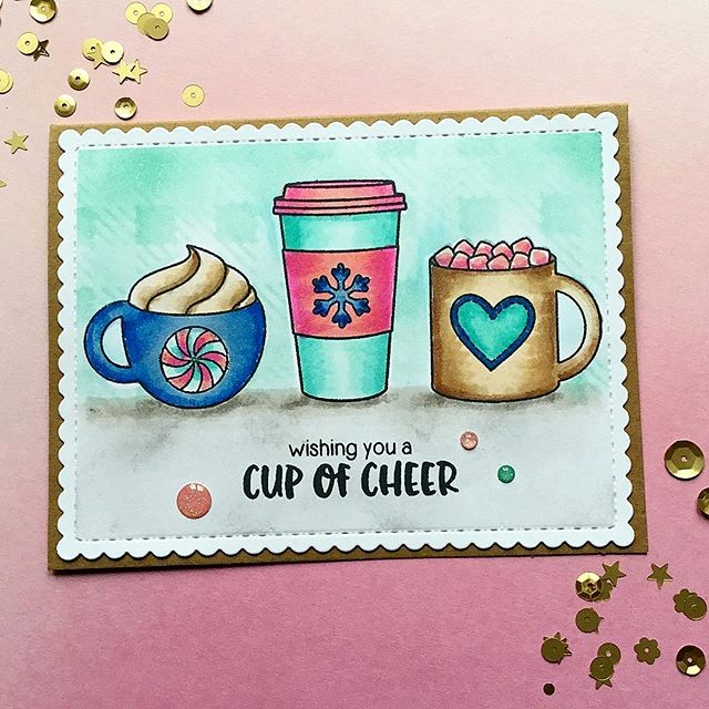 Sunny Studio Stamps: Mug Hugs Hot Cocoa & Coffee Card by Tina